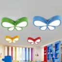 Red/Blue/Green Butterfly Ceiling Flush Cartoon Style LED Metallic Flush Mount Light for Playing Room