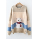 Bear Snowflake Print Colorblock Long Sleeve Crew Neck Knitted Loose Fit Lovely Pullover Sweater