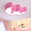 Moon and Star Flush Mount Light Kids Style Acrylic Pink/White LED Ceiling Lighting for Nursery