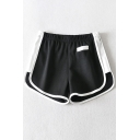 Womens Shorts Unique White-Binding Side Split Regular Fitted A-Line Elastic Waist Sweat Shorts