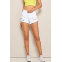 Dainty Shorts Solid Color Pockets High Waist Zip Closure Button Detail Short Distressed Slim Fit White Denim Shorts for Women