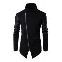 Cool Mens Jacket Oblique Zipper High Neck Slim Fitted Long Patchwork Sleeve Leather Jacket