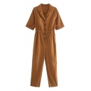 Dainty Jumpsuits Solid Color Short Sleeves Button Placket Elastic Waist Notch Collar Chest Pockets Jumpsuits for Women
