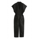 Women's Fancy Jumpsuits Plain Snap Detail Cap Sleeves Flap Pockets Collar Elastic Waist Zip Closure Jumpsuits in Black
