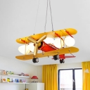 Airplane Ceiling Chandelier Contemporary Metallic LED Nursery Pendant Light Kit in Red