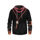 Trendy Skull 3D Print Contrasted Long Sleeve Drawstring Pouch Pocket Loose Hoodie in Black
