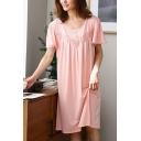 Pink Pretty Lace Button Front Pleated Crew Neck Butterfly Sleeve Oversized Midi T-Shirt Nightdress for Women