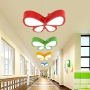 Red/Green/Yellow Butterfly Chandelier Nordic Style LED Acrylic Hanging Ceiling Light for Hallway