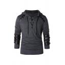 Men's Trendy Hooded Sweatshirt Patchwork Lace-up Grommets Long Sleeve Slim Fitted Hooded Sweatshirt