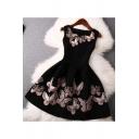 Chic Butterfly Print Round Neck Sleeveless Short Dress