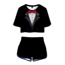 Trendy Womens Suit Pattern Short-sleeved Round Neck Cropped T-Shirt with Shorts Two Piece Set