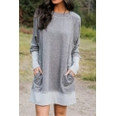 Ladies Leisure Contrasted Long Sleeve Crew Neck Mini Relaxed Sweatshirt Dress