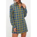 Women's Fashion Plaid Pattern Lapel Long Sleeve Tunic Shirt