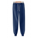 Retro Mens Pants Solid Color Drawstring Waist Cuffed 7/8 Length Tapered Fit Sweat Pants