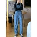 Trendy Dark Blue Casual Wide-Leg Straight Fit Unisex Denim Bib Overalls