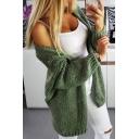 Womens Chic Plain Light Green Long Sleeve Open Front Longline Shawl Cardigan Knitwear
