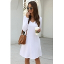 Daily Ladies Long Sleeve V-neck Solid Color Short A-line Tee Dress