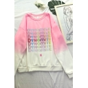 Dressy Ombre Letter Printed Round Neck Long Sleeve Pullover Regular Fitted Hoodie for Girls