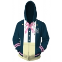 Mens Stylish Hoodie 3D Suit Pattern Zipped Drawstring Regular Fitted Long Sleeve Hooded Sweatshirt