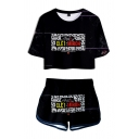 Cool Letter Miroh Print Crew Neck Short Sleeve Fitted Cropped Tee Top with Loose Shorts Casual Two-Piece Set for Girls
