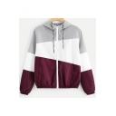 Ladies Trendy Geometric Contrast-Panel Drawstring at Hood Long Sleeve Zipper Sport Jacket Coat