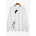 Chic Sweatshirt Cat Fish Pattern Relaxed Fitted Long Sleeve Sweatshirt for Women