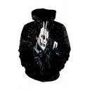 3D Joker with Poker Card Sport Casual Loose Long Sleeve Black Hoodie