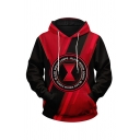 Modern Mens 3D Hooded Sweatshirt Black and Red Letter Printed Long Sleeve Drawstring Regular Fit Hooded Sweatshirt with Pocket