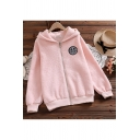Preppy Girls Jacket Logo Letter Pattern Zip up Bear Decoration Fitted Long Sleeve Hooded Casual Jacket