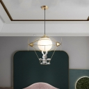 Gold Flying Boat Drop Pendant Kid 1 Head Iron Suspension Light with Bear Toy and Ball White Glass Shade