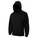 Mens Casual Hoodie Plain Drawstring Fitted Long Sleeve Detachable Hooded Sweatshirt with Pocket
