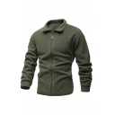 Mens Basic Jacket Solid Colored Zip up Regular Fit Long Sleeves Turn-down Collar Casual Jacket