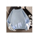 Stylish Sweatshirt Bow Tie Decoration Relaxed Fitted Long Sleeve Sweatshirt for Women