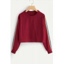 Rainbow Striped Patched Round Neck Long Sleeve Cropped Sweatshirt