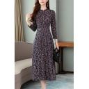 Womens Casual Floral Print Half Sleeve Gathered Waist Chiffon Midi A-Line Dress