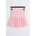 Rabbit Heart Embroidered Contrast Braid Mini Pleated Skirt