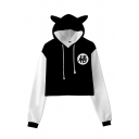 Chic Hoodie 3D Anime Cosplay Printed Bear Ears Decoration Long Sleeve Regular Fitted Cropped Hooded Sweatshirt for Women