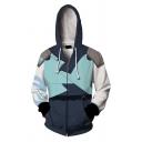 Chic Hoodie Cosplay 3D Printed Zip up Long Sleeve Pocket Drawstring Fitted Hooded Sweatshirt for Men