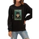 Womens Stylish Sweatshirt Cat Letter Fluff You Printed Loose Fit Long Sleeve Pullover Sweatshirt