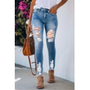 Womens New Fashion Solid Color Frayed Hem Distressed Ripped Blue Denim Jeans