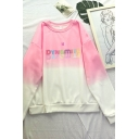 Popular Ladys Ombre Letter Pattern Round Neck Long Sleeve Regular Fitted Pullover Hoodie