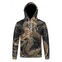 Mens Stylish Hoodie Dragon Printed Drawstring Slim Fitted Long Sleeve Hooded Sweatshirt