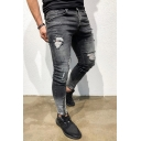 Men's Hot Fashion Cool Pleated Patched Zippered Cuff Black Skinny Ripped Biker Jeans