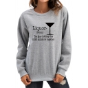 Leisure Womens Sweatshirt Glass Letter Liquor Printed Regular Fitted Long Sleeve Pullover Sweatshirt