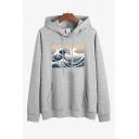 Basic Womens Hoodie Wave Ocean Pattern Drawstring Long Sleeves Loose Fitted Hoodie