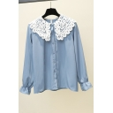 Lovely Girls Long Sleeve Peter Pan Collar Lace Patched Button Down Relaxed Blouse Top