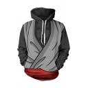 Chic Mens 3D Grey Hoodie Cloth Printed Long Sleeve Pocket Drawstring Regular Fit Hooded Sweatshirt
