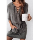 Fashionable Plain Long Sleeve Lace-up Front Drawstring Waist Mini Fit Hoodie Dress in Grey