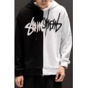 Stylish Mens Hoodie Colorblock Letter Pattern Long Sleeve Drawstring Loose Fit Hooded Sweatshirt