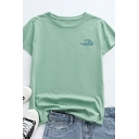 Chic Ladies Wave Pattern Short Sleeve Round Neck Regular Fitted Tee Top